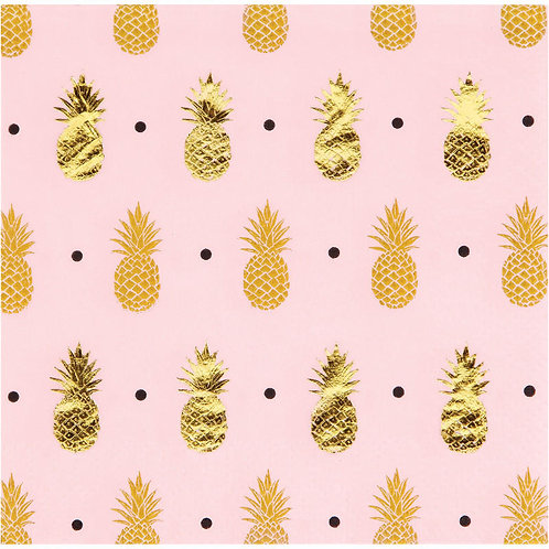 Gold Pineapple Beverage Napkins 16ct