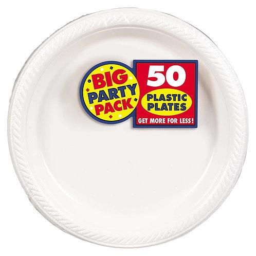 White 10in Plastic Plates 50ct