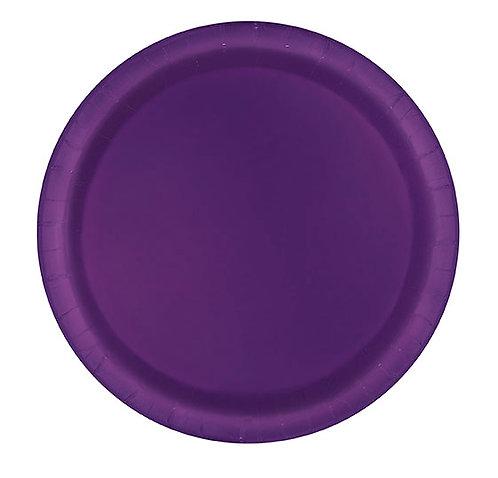 """Purple Round 7"""" Dessert Plates 20ct"""