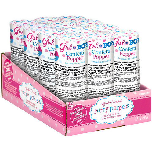 Girl Confetti Poppers 12ct