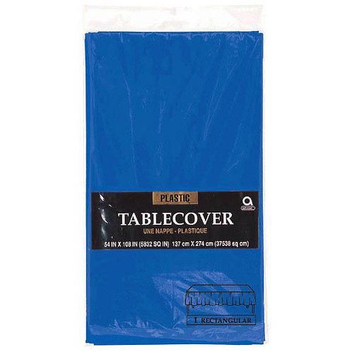 "Royal Blue Rectangular Plastic Table Cover, 54"" x 108"""
