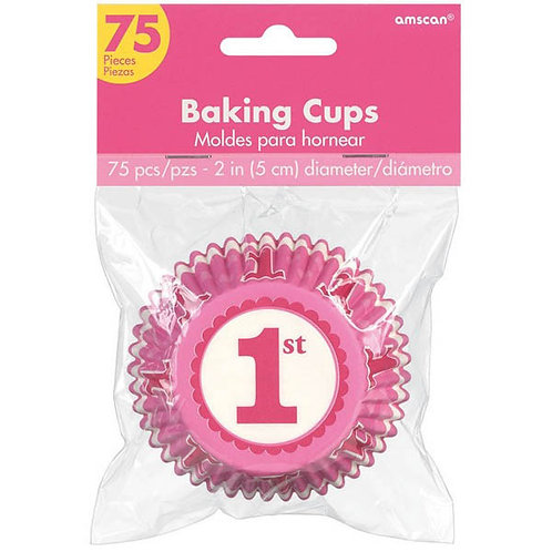 1st Birthday Girl Cupcake Cases 75ct