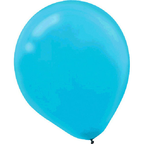 Inflated Caribbean Blue Latex Balloon