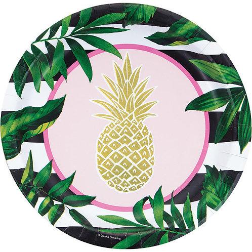 Gold Pineapple Dinner Plates 8ct