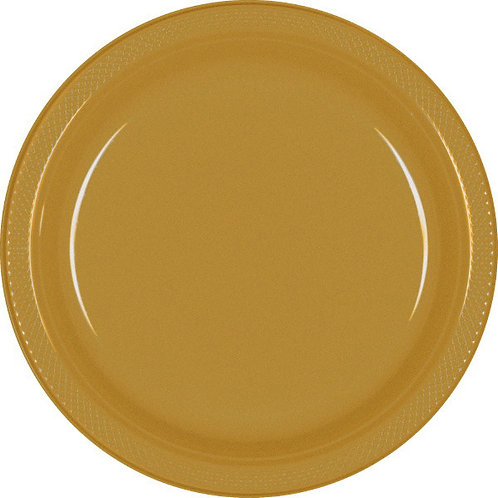 Gold 10in Plastic Plates 20ct