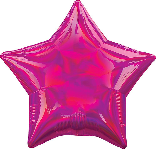 #673 Inflated Iridescent Magenta Star 18in Mylar Balloon