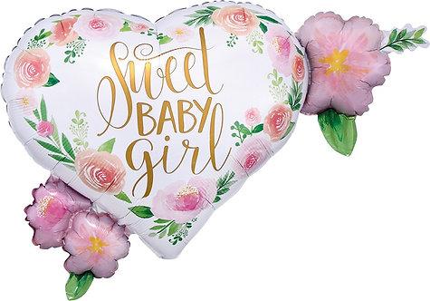 #189 Floral Baby Girl 27in Mylar Balloon
