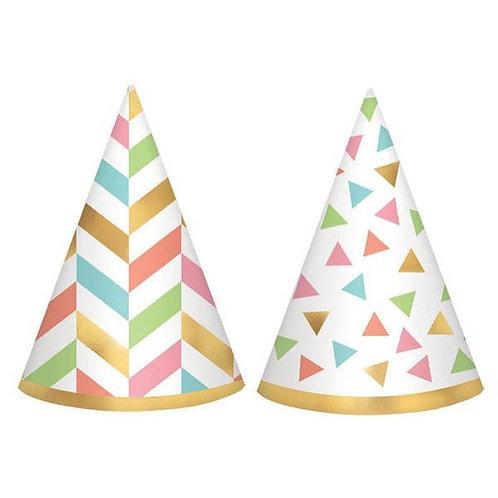 Confetti Fun Mini Foil Cone Hats 12ct