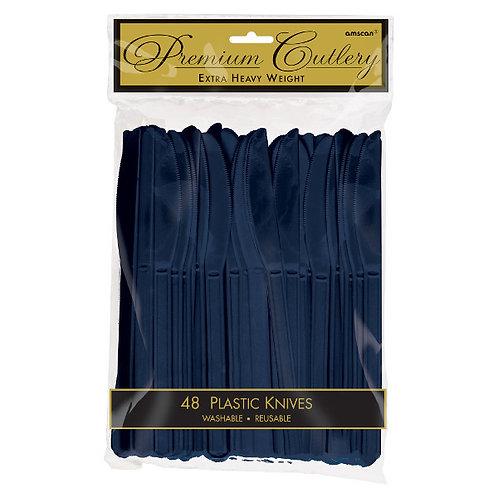 Navy Blue Plastic Knives 48ct