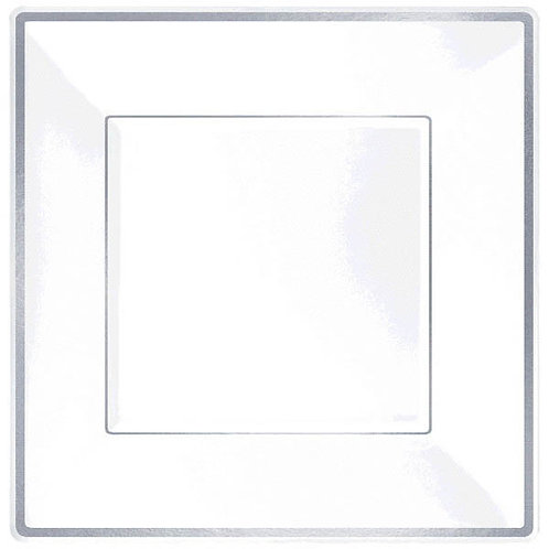 "Square Plastic Plate White w/Silver Trim, 7 1/4"" - 10ct"