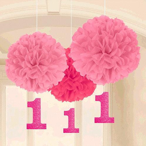 1st Birthday Fluffy Decorations w/Danglers - Pink