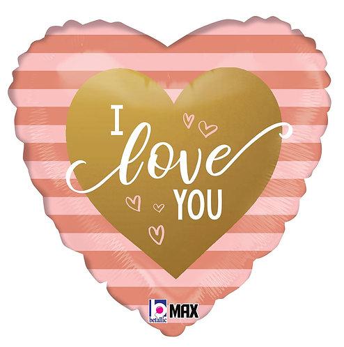 #516 Rose Gold Stripes I Love You 18in Mylar Balloon