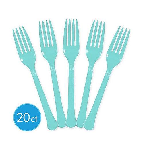 Robins Egg Blue Plastic Forks 20ct