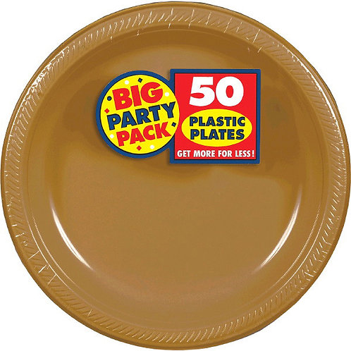Gold 10in Plastic Plates 50ct