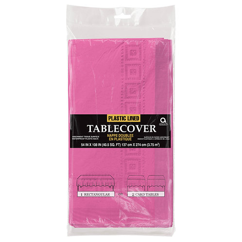"Bright Pink Paper Table Cover 54"" x 108"""