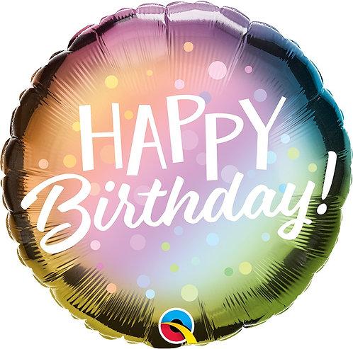 #324 Birthday Metallic Ombre & Dots 18in Balloon