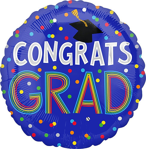 #G20 Congrats Grad Dots 17in Mylar Balloon