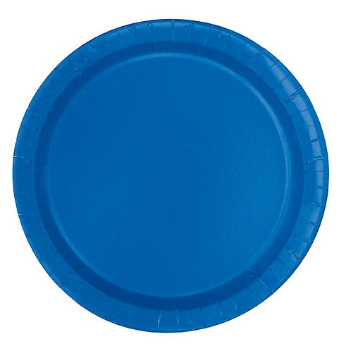 "Royal Blue Round 7"" Dessert Plates 20ct"