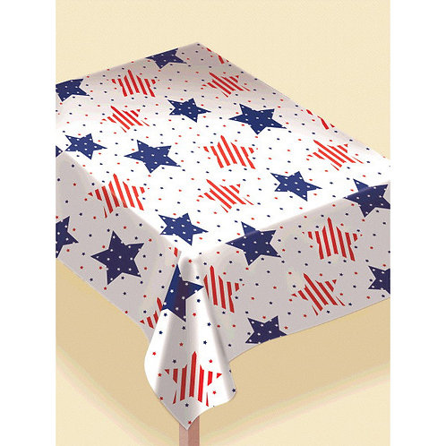 Patriotic Stars Flannel-Backed Vinyl Table Cover
