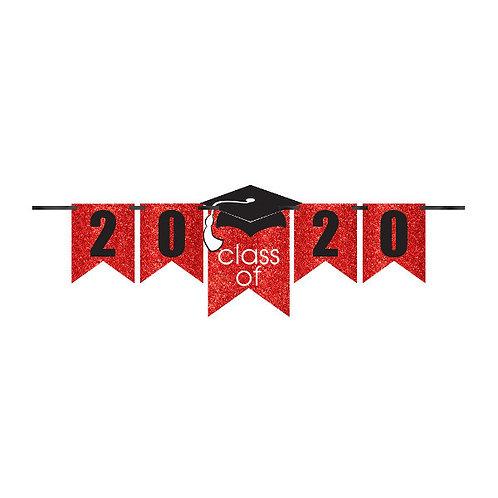 Grad Personalized Glitter Paper Letter Banner Kit - Red