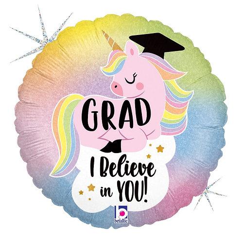 Pastel Unicorn Grad Holographic 18in Mylar Balloon