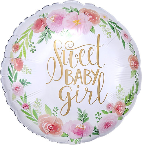 #589 Floral Baby Girl 18in Mylar Balloon
