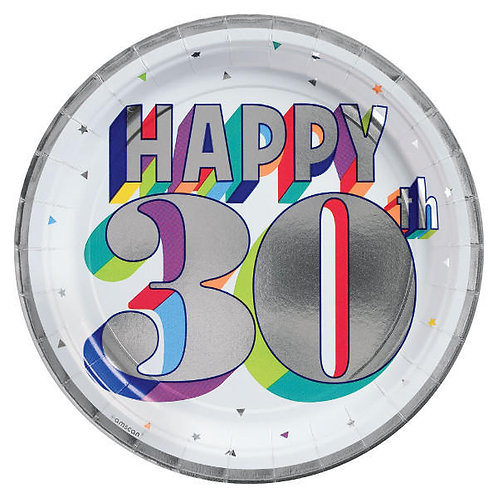 Here's To 30 Metallic Round Lunch Plates 8ct
