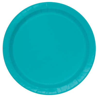 """Caribbean Teal Round 9"""" Dinner Plates 16ct"""