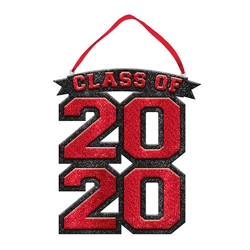 """Class Of 2020 Glitter Sign 10"""" x 9 1/4"""" - Red"""