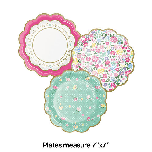 Floral Tea Party Shaped Dessert Plates 8ct
