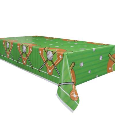 """Baseball Rectangular Plastic Table Cover 54""""x84"""""""