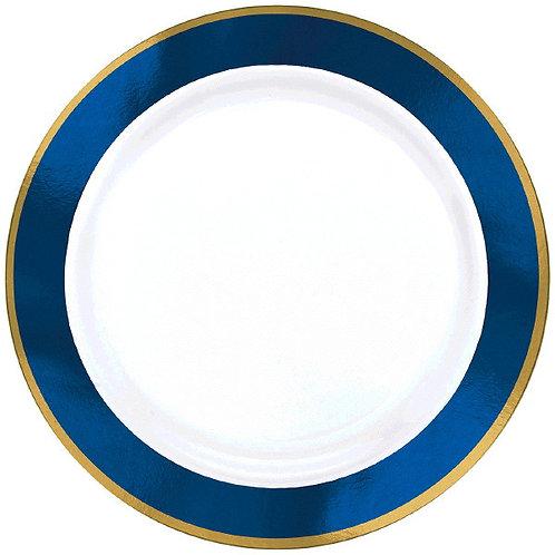 Royal Blue Border Premium 10in Plastic Plates 10ct