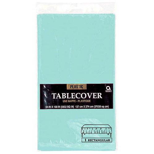 "Robins Egg Blue Rectangular Plastic Table Cover, 54"" x 108"""