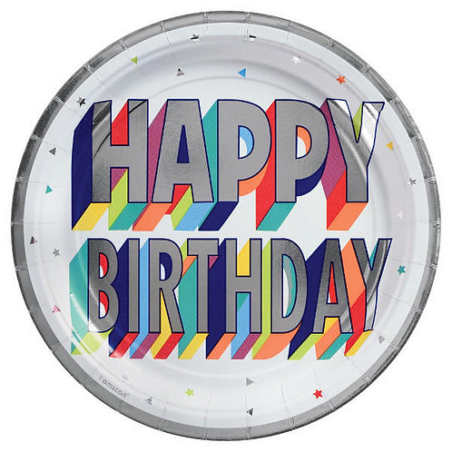 Here's To Your Birthday Round Metallic Dessert Plates 8ct