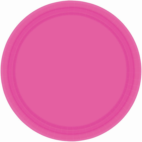 Bright Pink 7in Paper Plates 20ct