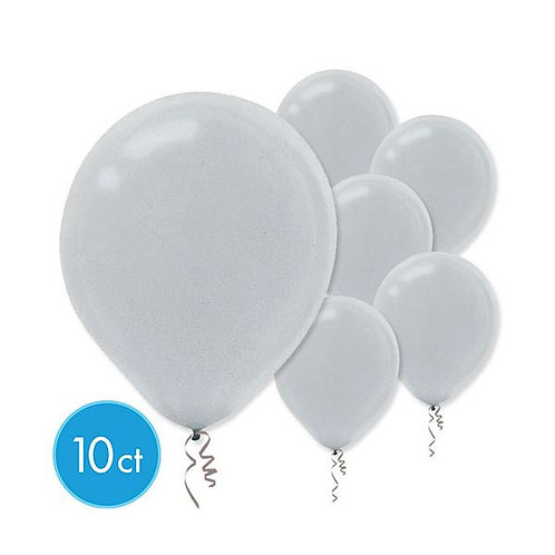 Silver Pearl Latex Balloons - Packaged, 10ct