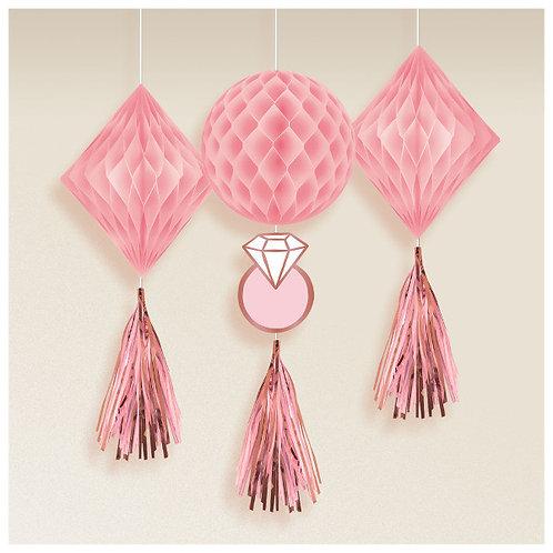 Blush Wedding Honeycomb Decorations