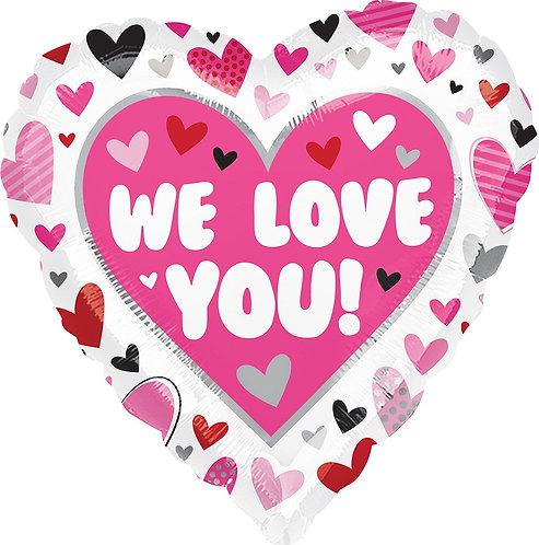 #519 We Love You Hearts 18in Mylar Balloon