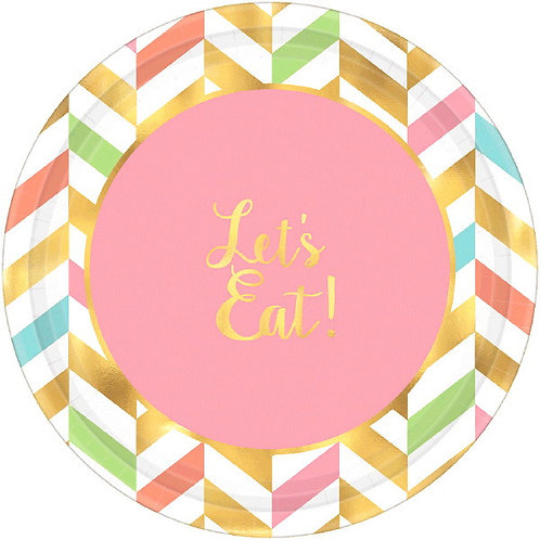 Eat, Drink & Be Happy! Metallic Round Dessert Plates 8ct