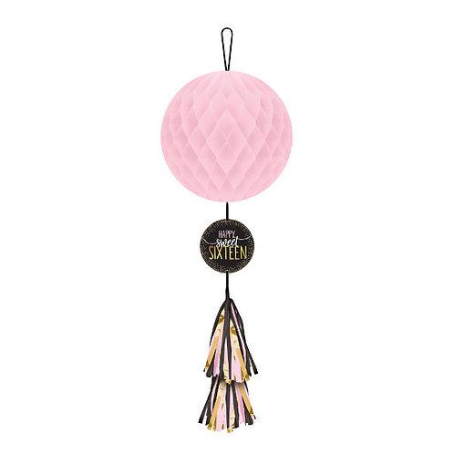 Blush Sixteen Honeycomb Decoration w/ Tassel Tail