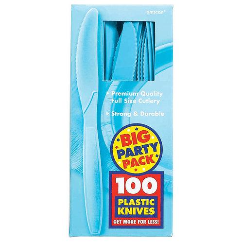 Caribbean Blue Value Plastic Knives 100ct