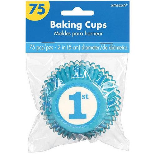 1st Birthday Boy Cupcake Cases 75ct