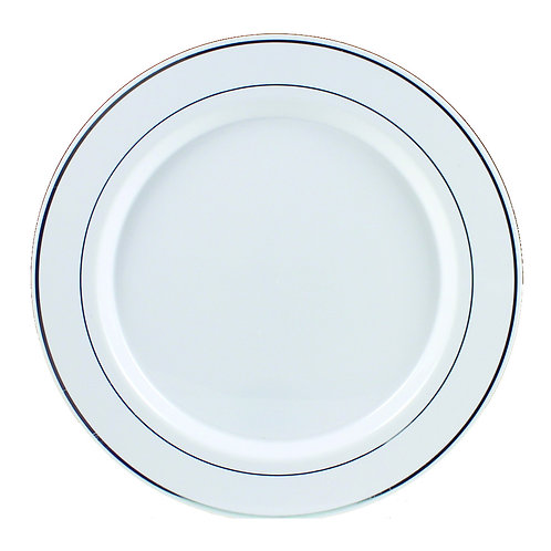 Regal White 9in Plastic Plates With Silver Trim 12ct