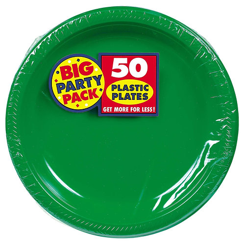 Green 10in Plastic Plates 50ct