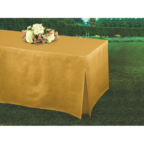 Gold Flannel-Backed Vinyl Fitted Table Cover