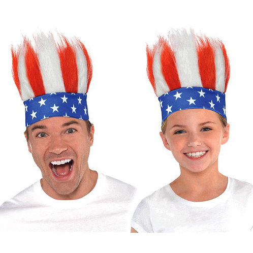 Red, White And Blue Crazy Hair Headband