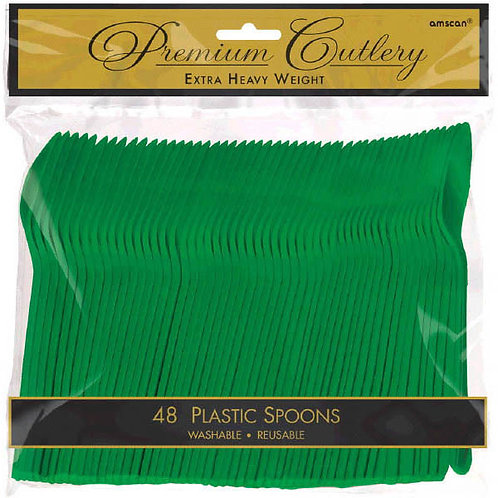 Green Plastic Spoons 48ct