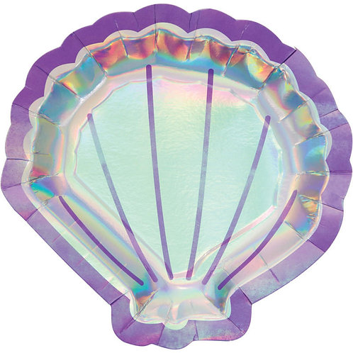 Mermaid Shine Shell Shaped Lunch Plates 8ct