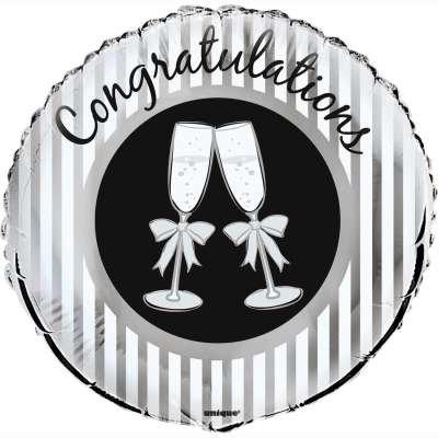 #485 Congrats Bubbly 18in Mylar Balloon