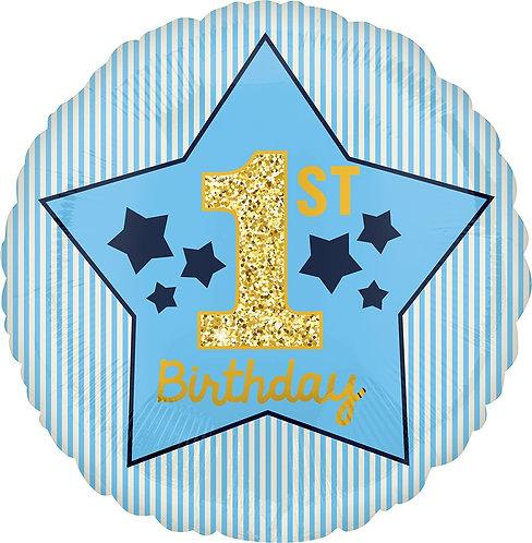 #283 Boy 1st Birthday Blue & Gold 18in Balloon